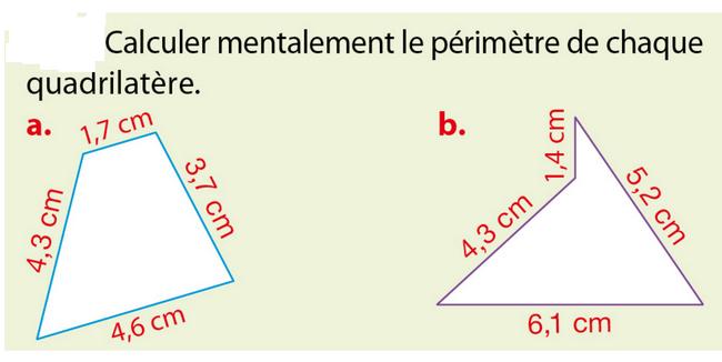 Calculer le périmètre : exercices en 5ème.