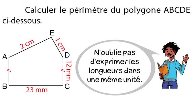 Calcul de périmètre : exercices en 5ème.