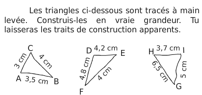 Construction de triangles : exercices en 6ème.