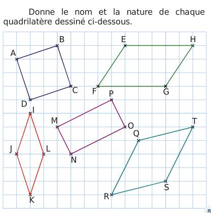 Donner le nom des quadrilatères : exercices en 6ème.