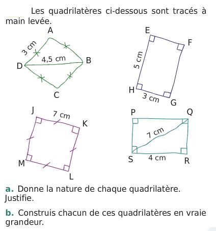 Des quadrilatères : exercices en 6ème.