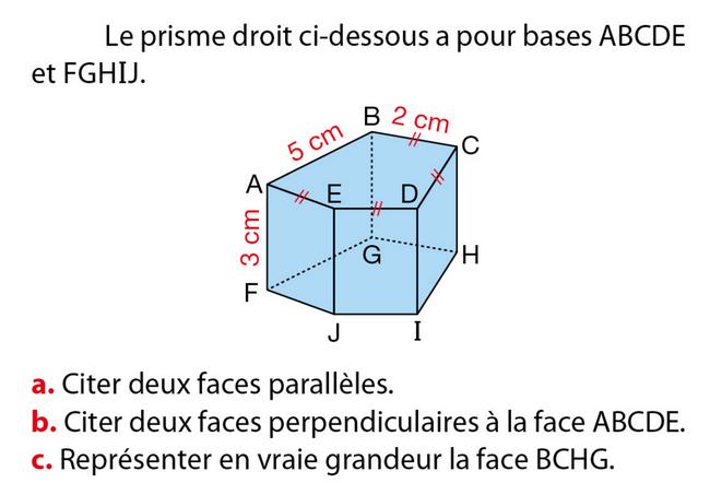 Faces d'un prisme droit : exercices en 5ème.