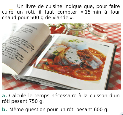 Livre de cuisine : exercices en 6ème.