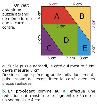 Un puzzle : exercices en 6ème.