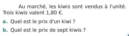 Les kiwis du marché : exercices en 6ème.