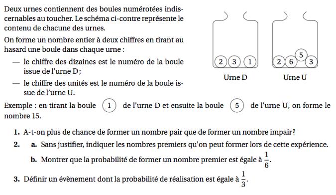 Des urnes et des boules numérotées : exercices en 3ème.
