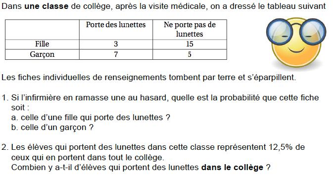 Probabilités et fiche de renseignements : exercices en 3ème.