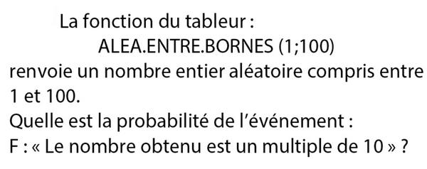 Probabilités et tableur : exercices en 3ème.
