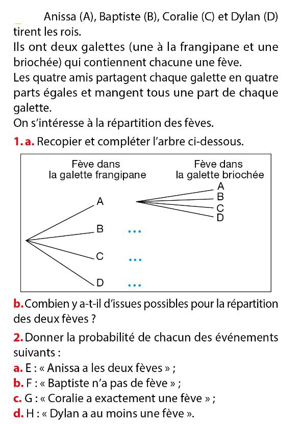 Galettes et probabilités : exercices en 3ème.