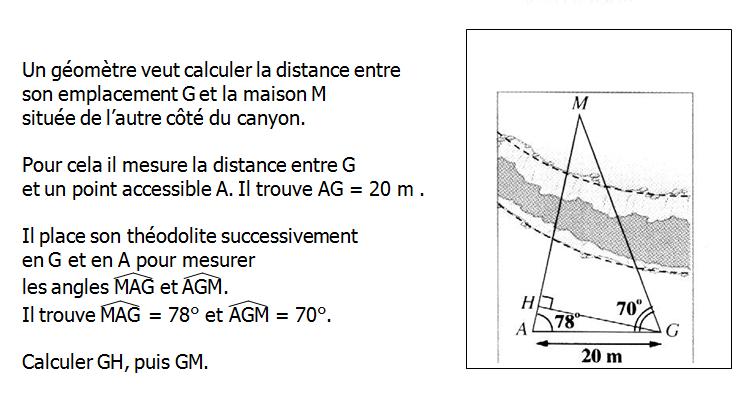 La trigonométrie : exercices de maths 3ème (troisième) à imprimer et télécharger en PDF.