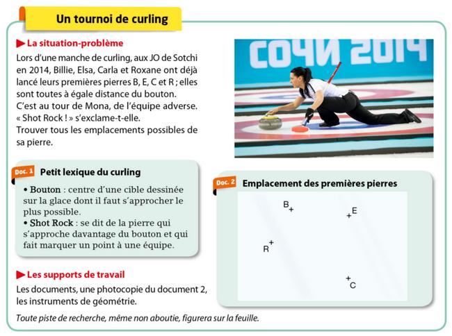 Problème du tournoi de curling : exercices en 5ème.