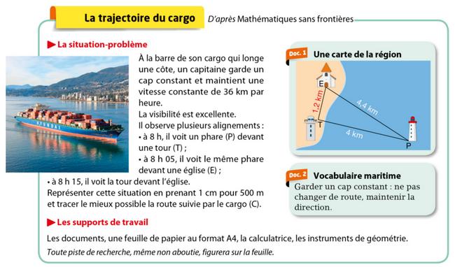 Problème de la trajectoire du cargo : exercices en 5ème.