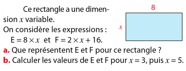 rectangle et calcul littéral : exercices en 5ème.
