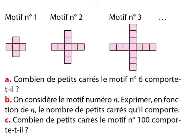Problèmes de motifs : exercices en 5ème.