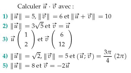 Calcul d'un produit scalaire : exercices en 1ère S.