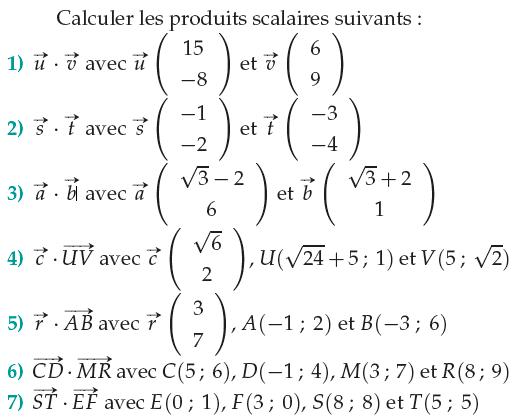 Calculer des produits scalaires à l'aide de coordonnées : exercices en 1ère S.