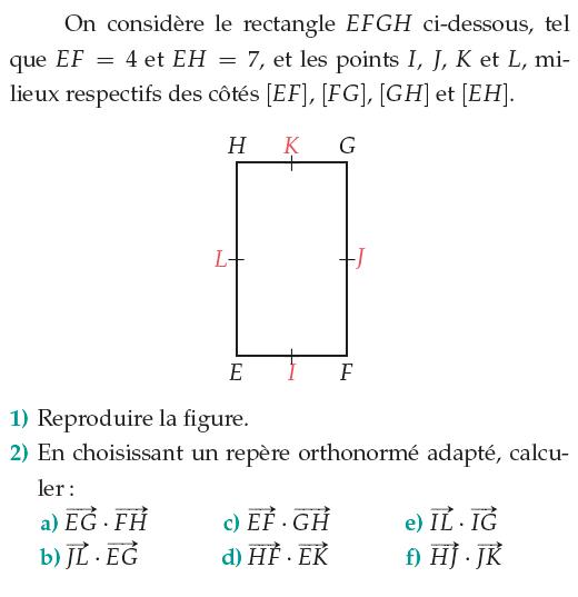 Calculs de produits scalaires dans un rectangle : exercices en 1ère S.