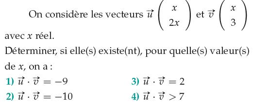 Déterminer la valeur de x : exercices en 1ère S.