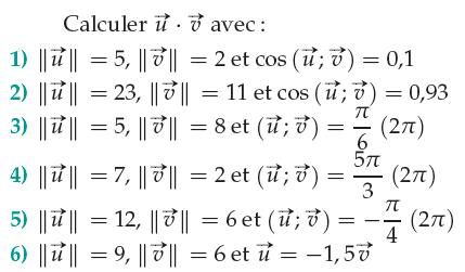 Calculs de produits scalaires à l'aide des normes : exercices en 1ère S.