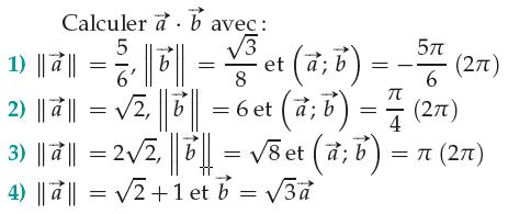 Calculs de produits scalaires et normes de vecteurs : exercices en 1ère S.