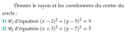 Rayon et coordonnées du centre du cercle : exercices en 1ère S.
