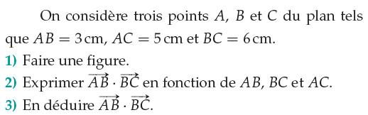 Exprimer un produit scalaire en fonction de vecteurs : exercices en 1ère S.