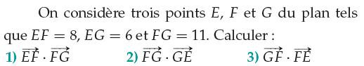 Calculs de produits scalaires : exercices en 1ère S.