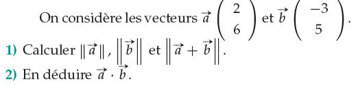 Calculer des normes de vecteurs : exercices en 1ère S.