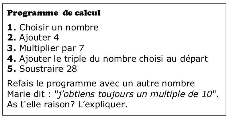 Marie et le programme de calcul  : exercices en 5ème.
