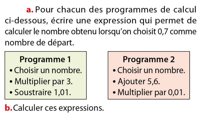 Programme de calcul : exercices en 5ème.