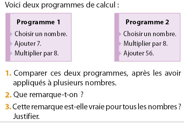 Deux programmes de calcul : exercices en 5ème.
