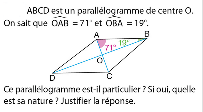 Propriétés du parallélogramme : exercices en 5ème.