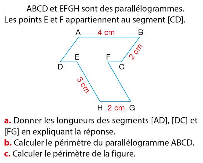 Périmètre d'un parallélogramme : exercices en 5ème.