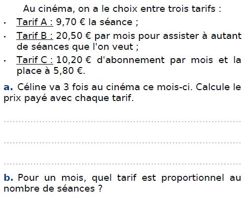 Tarifs au cinéma : exercices en CM2.