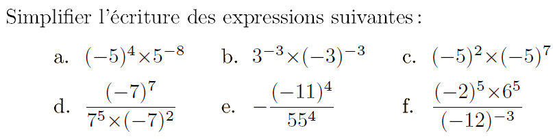 Formules des puissances : exercices en 4ème.