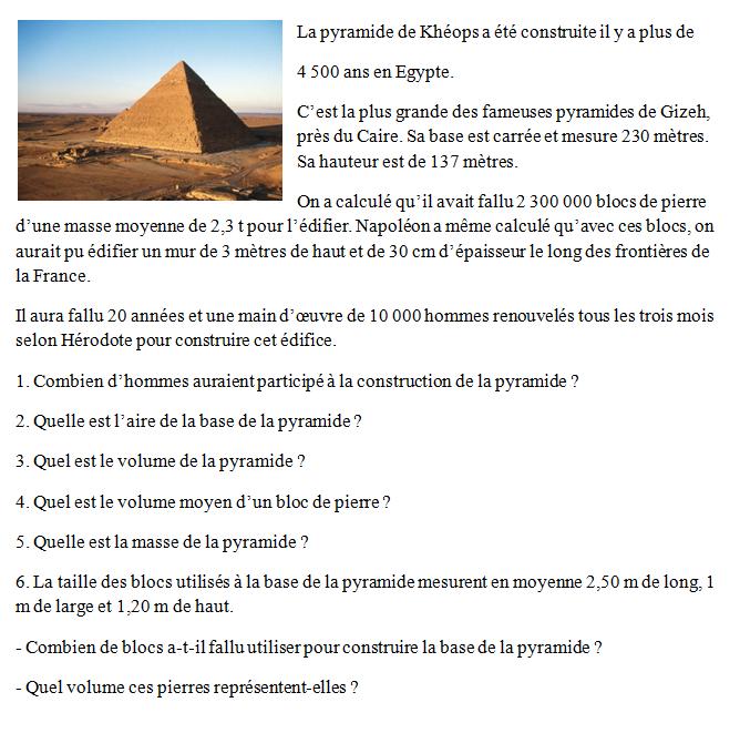 La pyramide de khéops : exercices en 3ème.