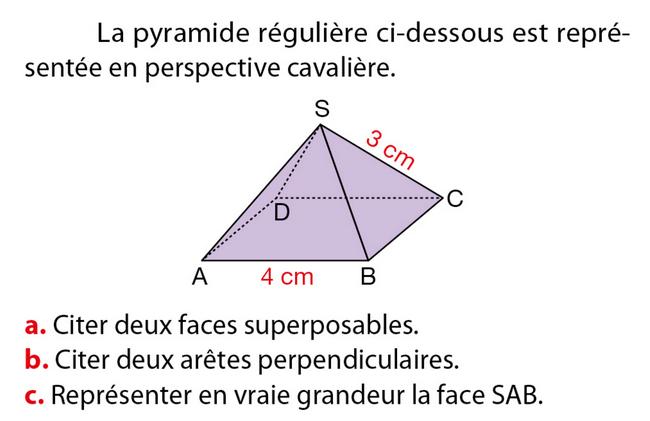 La pyramide régulière : exercices en 5ème.