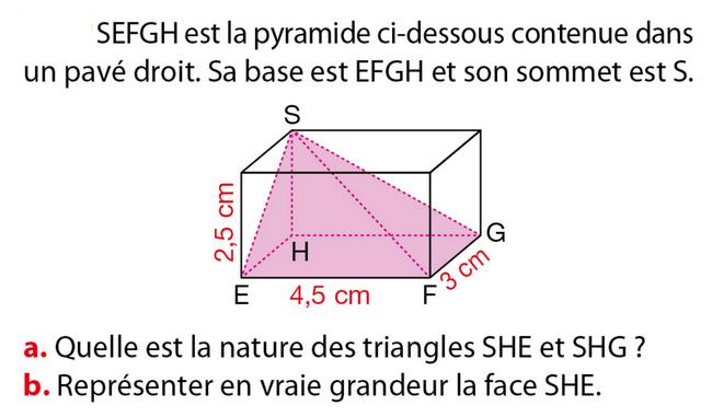 Pyramide contenue dans un pavé droit : exercices en 5ème.