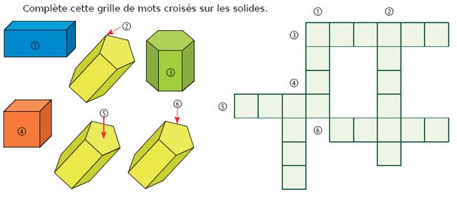 Mots croisés et solides de l'espace : exercices en CM1.