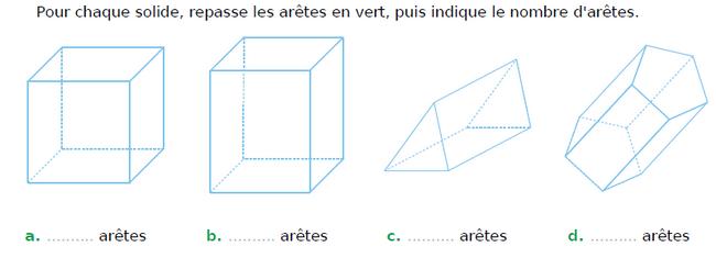 Prismes droites et cubes : exercices en CM1.