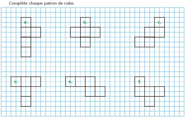 Le patron d'un cube : exercices en CM1.