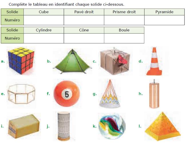 Cube, pavé droit, prisme droit et pyramide : exercices en CM1.