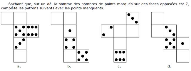 Compléter les patrons  : exercices en CM2.