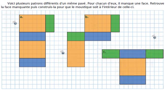 Différents patrons d'un même pavé droit* : exercices en CM2.