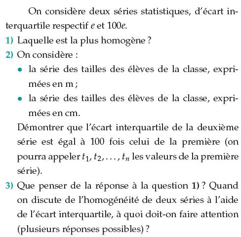 Une étude de séries statistiques : exercices en 1ère S.