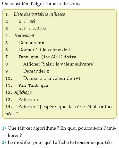Algorithme et quartiles : exercices en 1ère S.