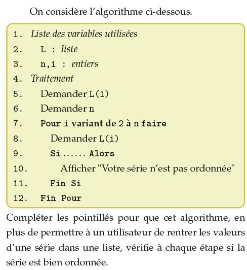Algorithme et série statistiques : exercices en 1ère S.