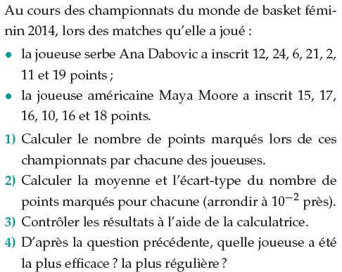 Championnat du monde basket et statistiques : exercices en 1ère S.