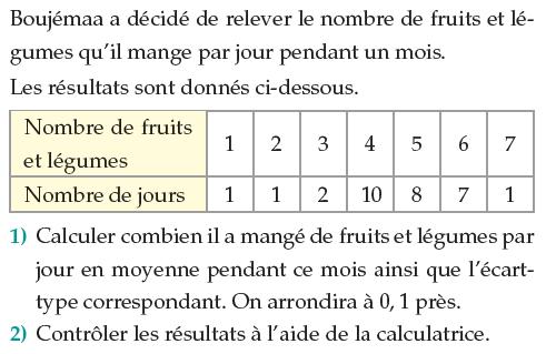 Fruits et légumes mangés par jour : exercices en 1ère S.