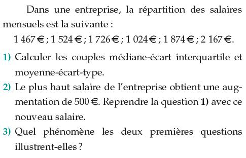 La répartition des salaires mensuels dans une netreprise : exercices en 1ère S.